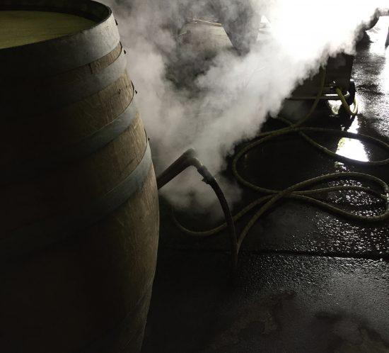 Adam Mason, Raised by Wolves: Here's a little bit o' the witches' cauldron vibe, some dry ice creating an eerie plume as it blankets the juice in barrel. Just need the eye of toad